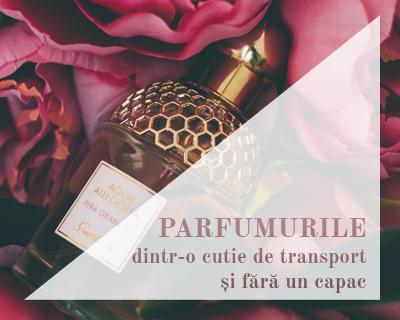 Parfumurile dintr-o cutie de transport și fără un capac
